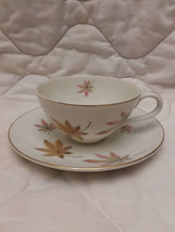 Vintage cup and saucer and saucer, beautiful colorful leafs cup and saucer - $10.00