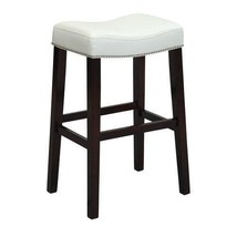 ACME Lewis Counter Height Stool, White PU & Espresso (Set of 2)  - $111.12