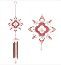 Red Abstract Hearts - Handcrafted Glass Metal Windchimes Wind Chime   - $17.63