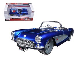 1957 Chevrolet Corvette Blue Custom 1/24 Diecast Model Car by Maisto - $52.99