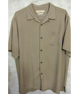 GORGEOUS Tommy Bahama Solid Light Brown Tan 100% Silk Hawaiian Shirt L - $49.99