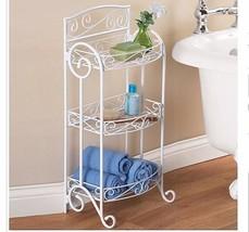 Bathroom Storage Stand White Metal Scroll 3 Shelves Towels Rack Toiletri... - $49.49