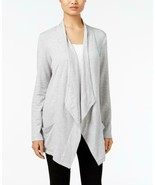 $49.50 Style & Co Soft Draped, Open Front Cardigan, XL, Heather Gray - $15.10