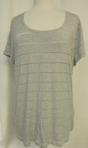 CALVIN KLEIN JEANS Short Sleeve Pullover Knit Top Gray Semi Sheer Stripe... - $14.69