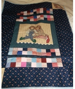 handcrafted quilt Rag Doll blue patchwork 37 x 48 lap toddler throw boy ... - $60.00