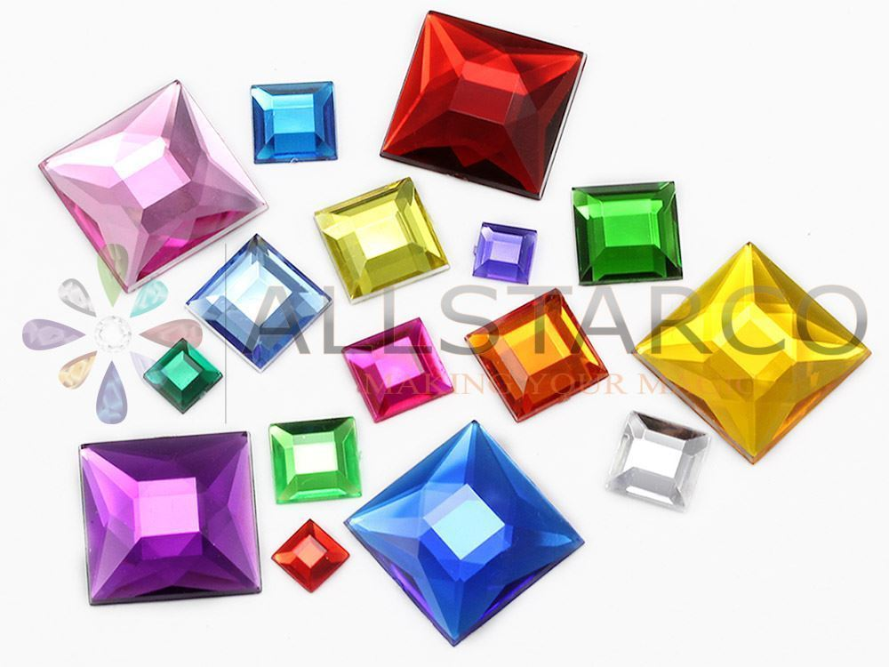 12mm Green Peridot .PD2 Flat Back Square Acrylic Gemstones - 40 PCS