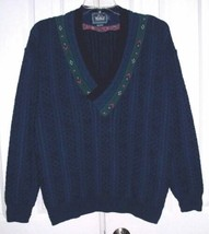 WOOLRICH MEN'S V-NECK CABLE KNIT SWEATER COTTON NAVY SIZE XL USA - $27.99