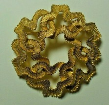 "Vintage CROWN TRIFARI Gold-tone Textured Ribbon Brooch 2"" Diameter - $85.00"