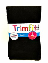 Trimfit Black Tights Two Pair Soft Fleece Lining Size Small 4-6 Weight 3... - $14.84