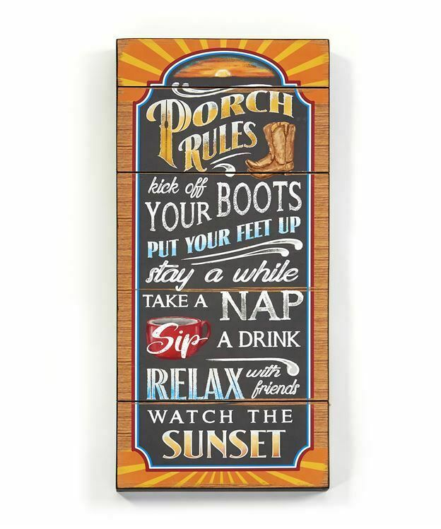 "24"" Porch Rules Chalkboard Look Wood Wall Sign w Sentiment"