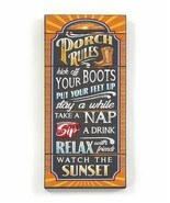 """24"""" Porch Rules Chalkboard Look Wood Wall Sign w Sentiment - $39.59"""