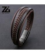 Bracelet Men's New Punk Braid Leather Black Adjustable Stainless Steel W... - $16.74