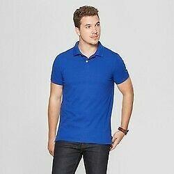 Men's Standard Fit Short Sleeve Pique Loring Polo Shirt - Goodfellow & Co  blue