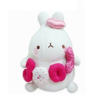 Molang Melody Plush Figure Toy Stuffed Animal Rabbit Cushion 9.8 inches (Pink)