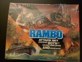 Vintage MONOGRAM RAMBO 6039 HUEY HELICOPTER & RIVER BOAT PT18 ATTACK Kit... - $69.30