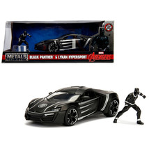 Lykan Hypersport Black with Black Panther Diecast Figure Marvel Series 1/24 Diec - $36.59