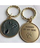 Always By My Side Dog Pet Paw Print Footprint Beach Bronze Keychain - £5.66 GBP