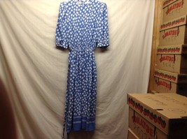 Talbots Long Blue Dress w White Clover-Like Design Elastic Waist Sz 4