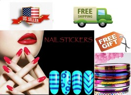 A: Nail Art Tip Line Sticker Guides Stencil French Manicure DIY - US Seller - $1.87+