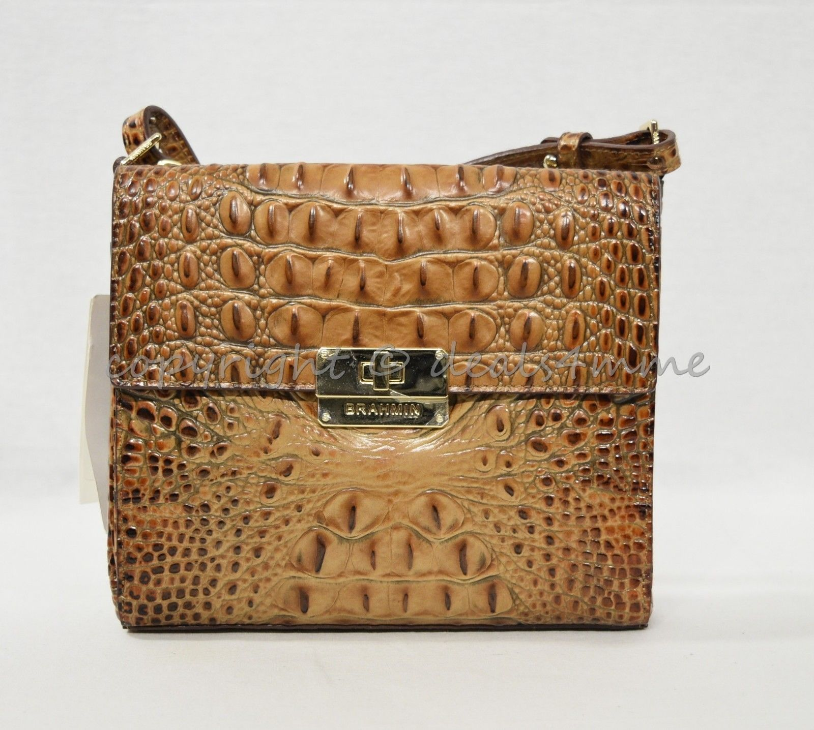 NWT Brahmin Manhattan Leather Shoulder/Crossbody Bag in Toasted Almond Melbourne image 5