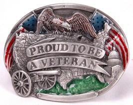 Vintage PROUD TO BE A VETERAN Belt Buckle Bergamot Brass Works 1983-USA-... - $18.69