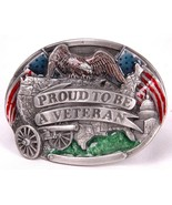 Vintage PROUD TO BE A VETERAN Belt Buckle Bergamot Brass Works 1983-USA-America - £14.42 GBP