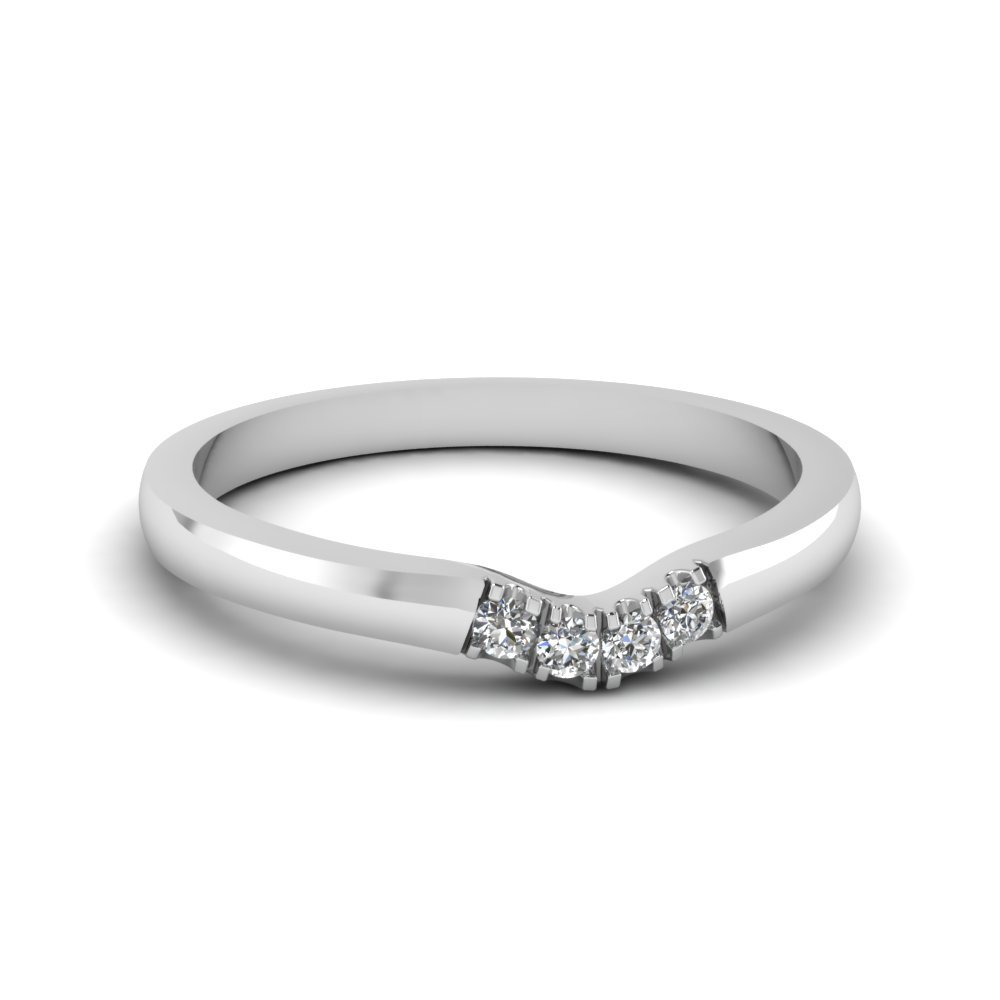 Primary image for Classic White CZ Diamond 14K White Gold FN Curved Wedding Band Ring