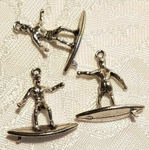 MALE SURFER FINE PEWTER PENDANT ANTIQUE SILVER FINISH - 24x21x3mm image 1