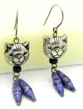 Vintage Silver Tone Cat Kitty Kitten Head Purple Beaded Dangle Earrings - $14.85