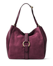 Michael Kors Quincy Large Suede/Leather Shoulder Tote Plum  Retail Price... - $149.59