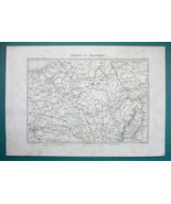1846 MAP - BELGIUM Luxembourg NE France & West Part of Germany - $14.85