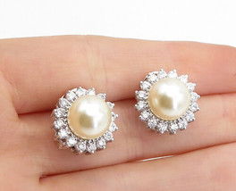 925 Sterling Silver - Sparkling Topaz & Pearl Round Floral Drop Earrings... - $34.38