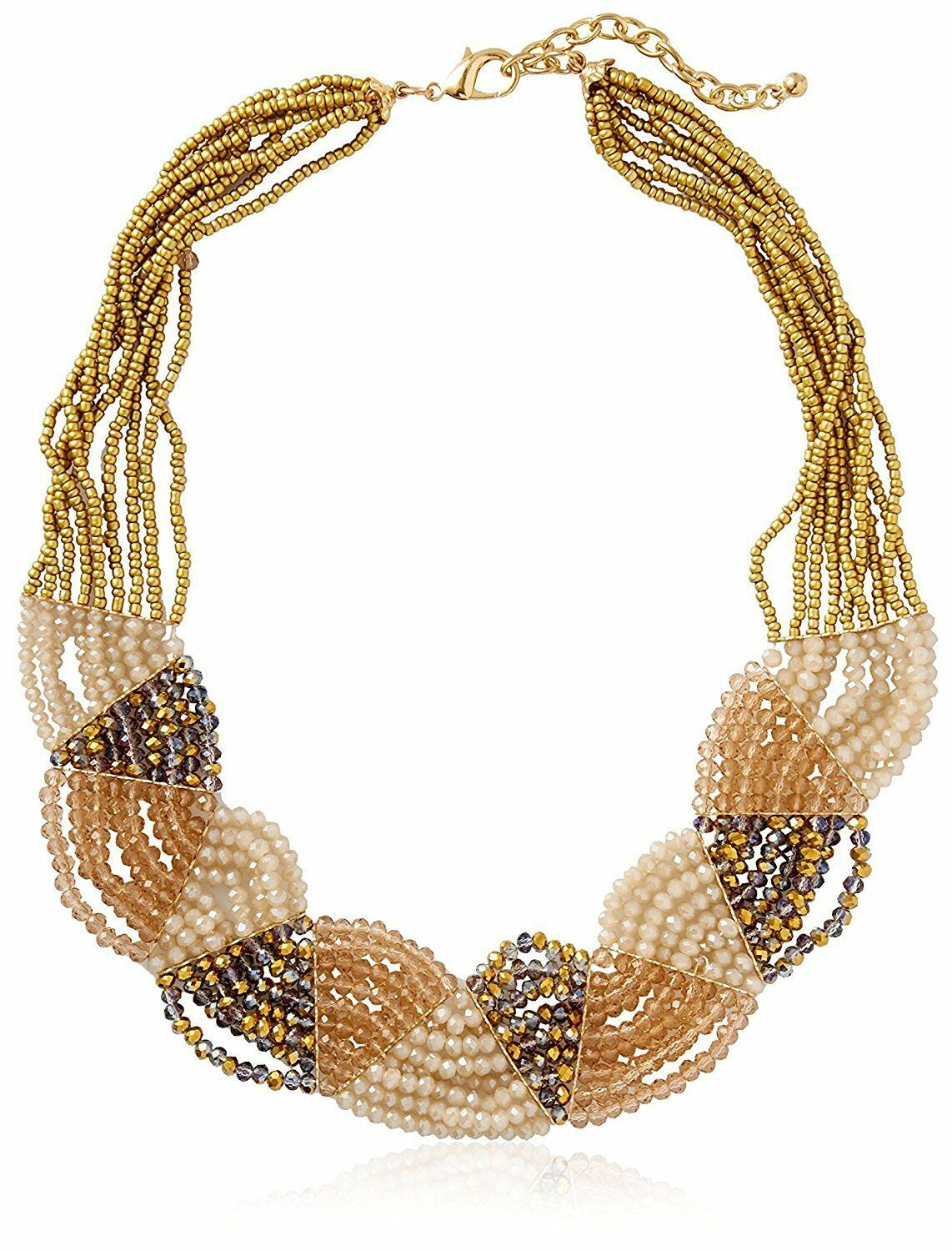 Leslie Danzis Gold Plated Multi Strand Iridescent Beaded Collar Bib Necklace NWT