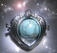 Haunted ANGEL WINGS LOCKET SERAPHIM ANGEL GUIDE VESSEL TURQUOISE WITCH Cassia4 - $77.77