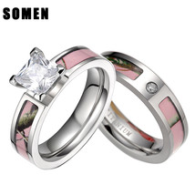 2Pcs Pink Tree Camo Inlay Titanium Couple Ring Set Women Cubic Zirconia ... - $30.10