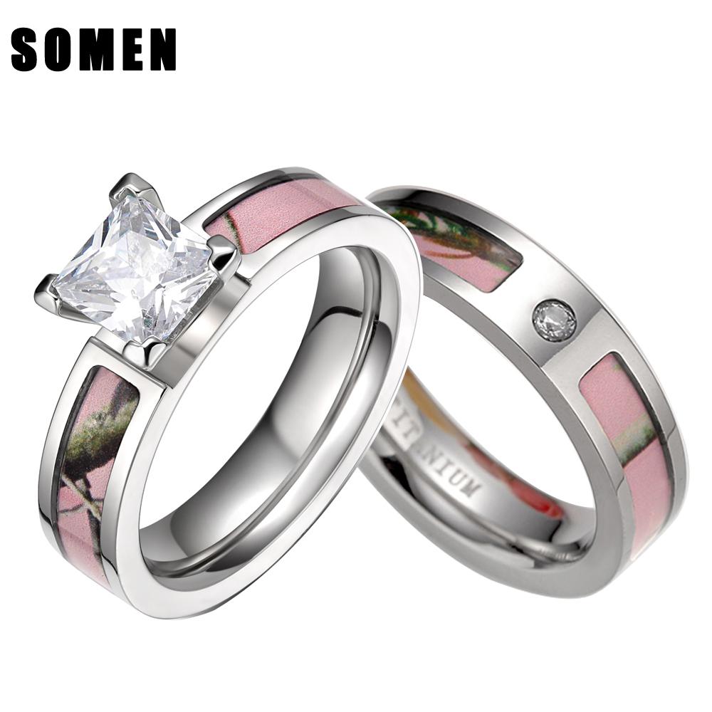 S pink tree camo inlay titanium couple ring set women cubic zirconia wedding band men engagement