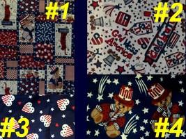 Fabric USA PATRIOTIC GOD BLESS AMERICA Craft Sew Quilt Flag Bear Firecra... - $12.99