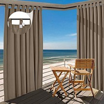 TWOPAGES Chocolate Outdoor Curtain Waterproof Tab Top Drape 180 W x 96 L... - $182.81