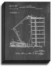 Fire Truck with Ladder Patent Print Chalkboard on Canvas - $39.95+