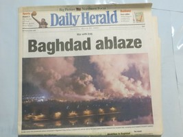 Daily Herald March 22 2003 War with Iraq Baghdad ablaze Soldiers Airstri... - $39.99