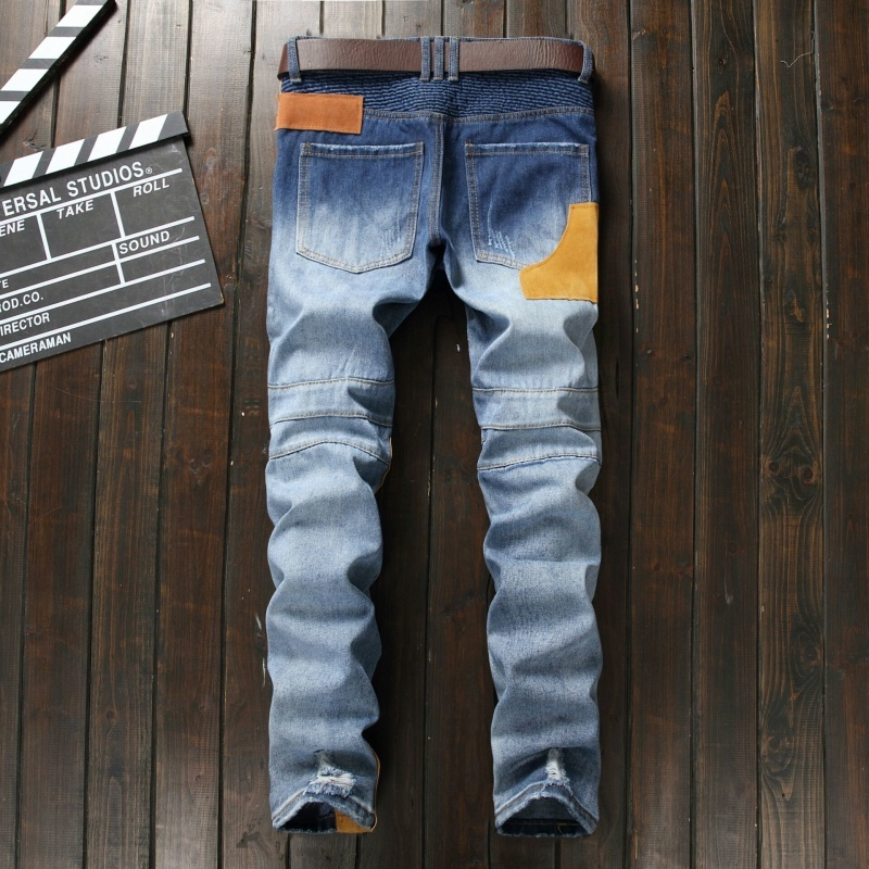 EU&US light blue patch jeans for men top quality jeans moto biker jeans, mens lo