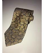 Nautica Men's Neck Tie Gold Paisley Black 100% Silk Classic - $22.19