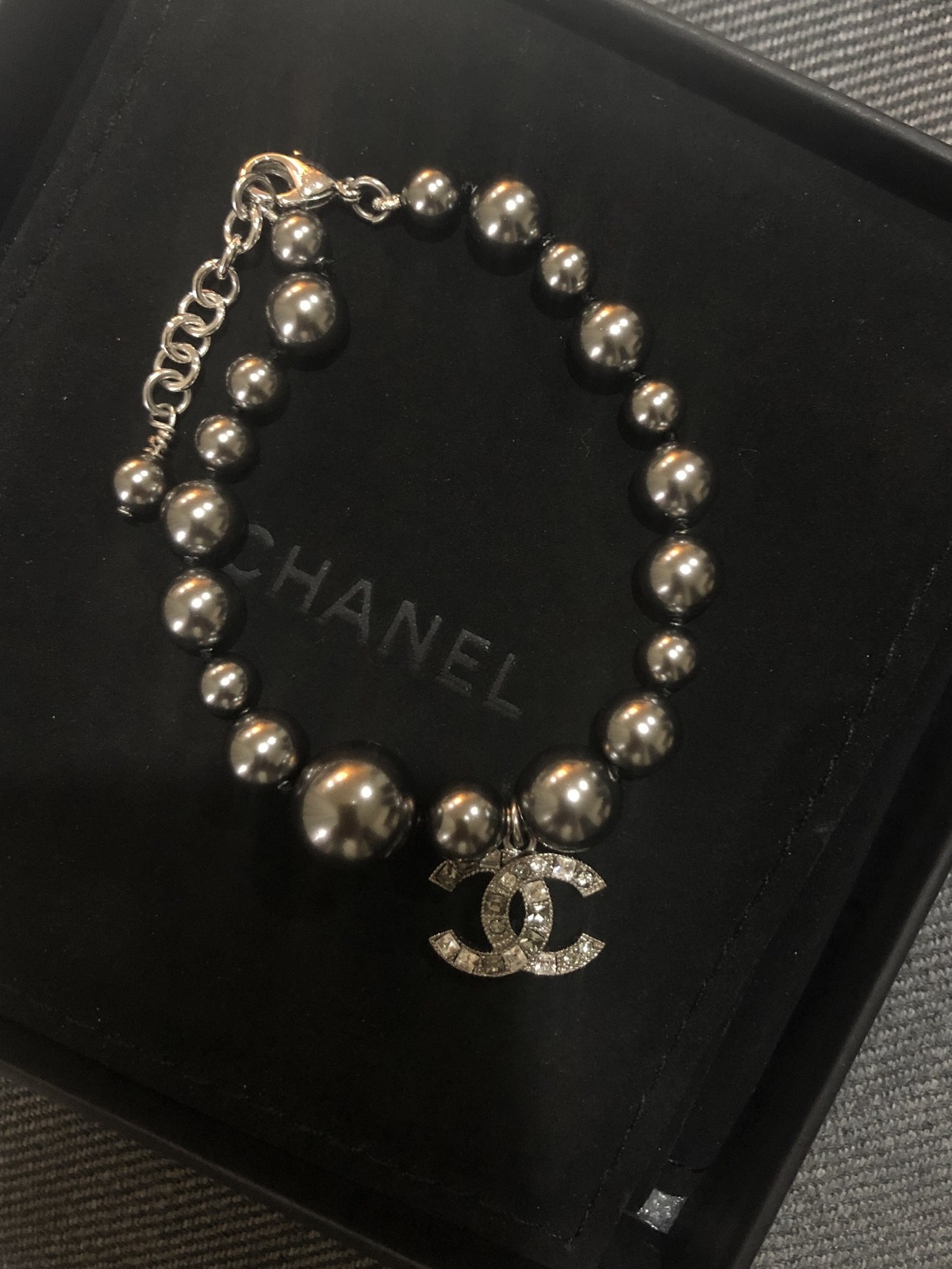 Primary image for 100% Authentic Chanel CC Logo Crystal Gray Pearls Bracelet