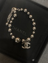 100% Authentic Chanel CC Logo Crystal Gray Pearls Bracelet