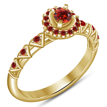 Red Garnet Yellow Gold Plated Pure 925 Sterling Silver Engagement Women'... - $75.20