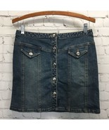 INC Vintage Wash Stretch Denim Skirt Rhinestone Button Front Womans 2 Mini - $19.30