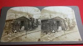 Eskimo Indian Dog Team Klondike Alaska Miners Mining Antique Photo Stere... - $98.10