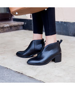 91B008 Lady's Trending thick heeled ankle booties, chic cow leather ,siz... - $88.80
