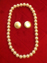 Classic Style 1 Strand Large Bead Faux Simulated Pearl Necklace with Mar... - $16.00