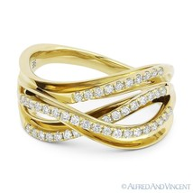 0.35ct Round Cut Diamond Right-Hand Overlap Loop Fashion Ring in 14k Yel... - $1,019.99